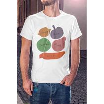Playera Sublimada Hombre Frutas Dibujo Diseño Blanca Hipster