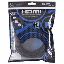 Cabo Hdmi 2.0 4k Ultra Hd 3d 19 Pinos 5 Metros Chip Sce