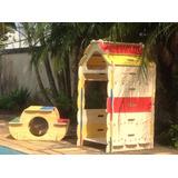 Brinquedo Casa + Mesa Infantil Desmontável Em Madeira