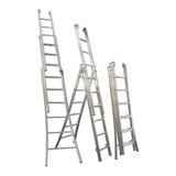 Escada De Alumínio Profissional, 3 Lances, 8 Degraus, 3l108