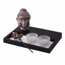 Candelabro Zen 2 Velas Con Buda 16x22 Cm - Hay De Todo!