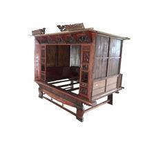 Cama Antiga Chinesa De Madeira Entalhada A Mão