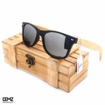 Óculos De Sol Espelhado Masculino Feminino Bambu / Madeira