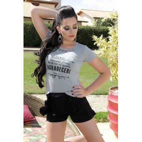 Blusa Feminina De Tecido T-shirts Agradecer Frete Grátis