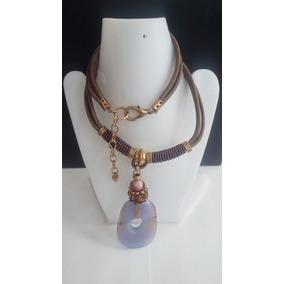 Collar+pulsera+aretes -piedra Lila Dorado-