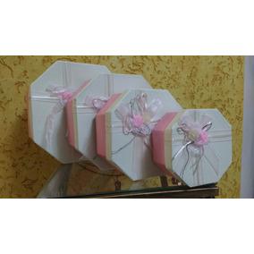 Kit 4 Caixas Presente Oitavada Papelão Rosa
