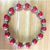 Pulseira Coral Vermelho Natural - Prata Tibetana