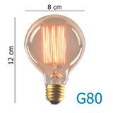 Lampada Retro Vintage G 80 Filamento Carbono Thomas Edson