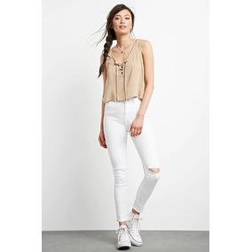 Jeans Pantalon Rasgado Color Blanco Forever 21 Original