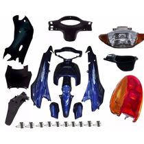 Kit Carenagem Completa P/ Biz 100 Ano 2005 - Azul C/adesivad