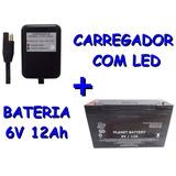 Bateria 6v 12ah + Carregador Com Led Brinquedos Bandeirante