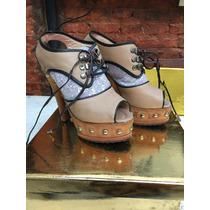 Zuecos Zapatos Tacos Plataforma Luciano Marra 36 Cuero Vaca!