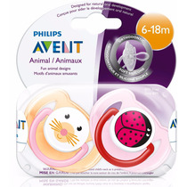 Chupete Avent Animalito Pack X2 Con Tapa 0 A 6m O 6 A 18m
