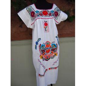 Vestido Con Flores Mexicano, Talles M Y L, Bordados Mexico
