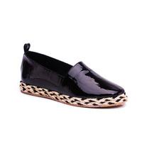 Natacha Zapato Mujer Alpargatas Charol Croco Negro 4221