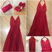 Kit Festa Vermelho: Vestido Longo + Echarpe + Bolsa + Sapato