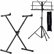 Suporte Pedestal P/ Teclado Musical + Estante De Partituras