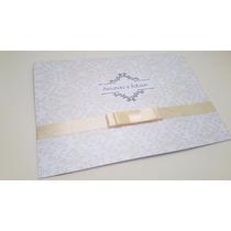 100 Convite Casamento Simples Branco Palha Perolado