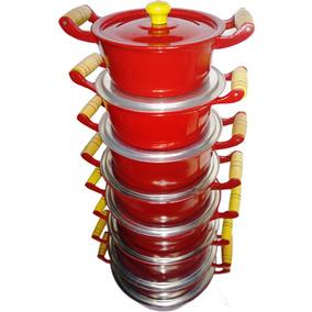 Jogo De Panelas Aluminio Fundido Coloridas Vermelhas 8 Peças
