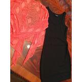 Vestido Negro Las Pepas Algodón/tul Talle 2 + Saco Importado