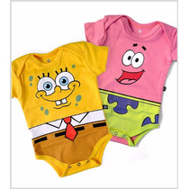 Kit 2 Bodies Bob Esponja Patrick - Body Bebê Roupa Bebê