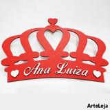 Coroa Personalizada Com Nome Vermelho Texturizado - Sorocaba
