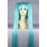 Peruca Hatsune Miku Vocaloid 100cm Cosplay + Brinde
