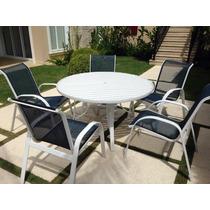 1 Mesa Ripada + 5 Cadeiras Alumínio Piscina Jardim Varanda