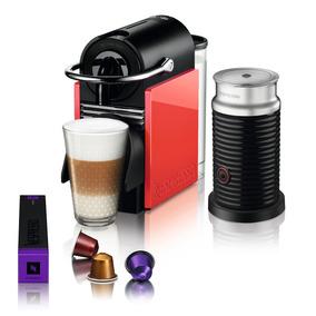 Cafetera Nespresso Pixie Clips Blanco Rojo Con Aeroccino