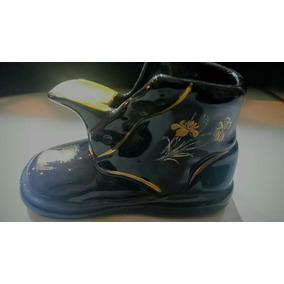 Zapato De Porcelana Azul Cobalto