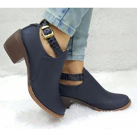 Zapato Tacon Bota Texana Color Azul Colombia Calzado Mujer