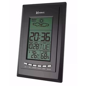Despertador Digital Termohigrômetro Tempo Preto Herweg 2970