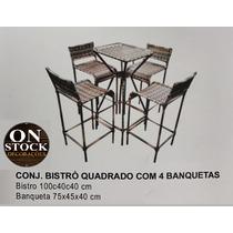 Mesa Bistrô/bar/restaurante Ferro E Junco 04 Banquetas