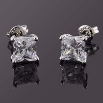 Par Brinco Masculino Prata Pura 925 Diamante Sintético 10mm