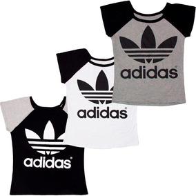 Kit 3 Blusa Feminina adidas Baby Look Excelente Qualidade