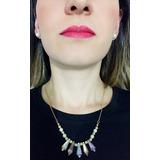 Collar Y Aretes Con Piedras De Murano Y Perlas Por Wom Acces