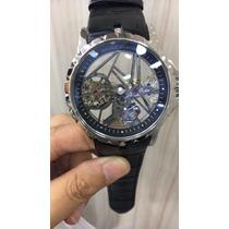 Relógio Roger Dubuis Excalibur Tourbillon Prata Couro