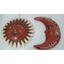 Sol Y Luna De Barro Preciosa Artesanía Mexicana