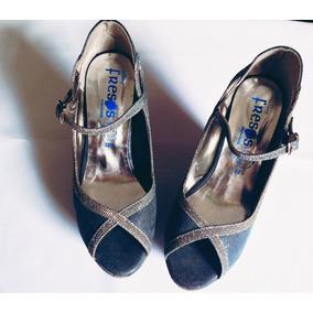 Zapatos De Tacon Corrido Azul Con Plata