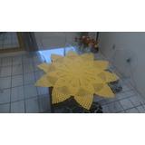 Toalha De Mesa: Sol De Crochê - Amarelo Ouro - 93x93 Cm