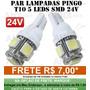 Par Lampada Pingo 5 Led T10 5050 Farolete Pingao Xenon 24v