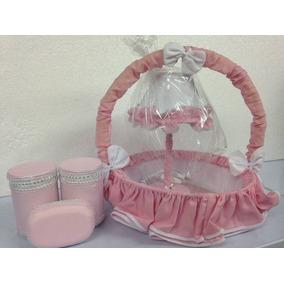 Kit Acessórios Abajur Cesta Potes Para Quarto Do Bebê Rosa