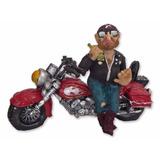 Moto Com Motoqueiro Em Pé Vintage Estatueta Decoração Resina