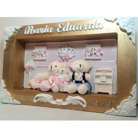 Quadro Porta De Maternidade: Quadro Dourado Com Ursinhos