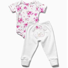 Kit Body Manga Curta Culote Baby Floral Zig Mundi