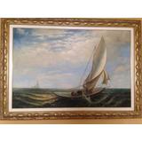 Pintura A Óleo - Barco Em Alto Mar