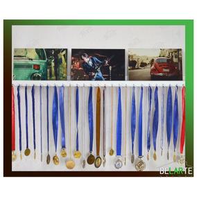 Porta Medalhas Quadro Mdf Branco Coleção Expositor