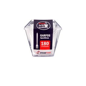 Garfo Para Petisco Aperitivo Kit 3 Potes 180 Unds Strawplast