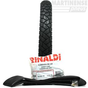 Kit 1 Pneu 90/90-19 52t R34 Rinaldi Moto Honda Bros + Camara