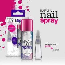 Esmalte Spray Impala Pink + Base Tratamento E Verniz 2 Em 1